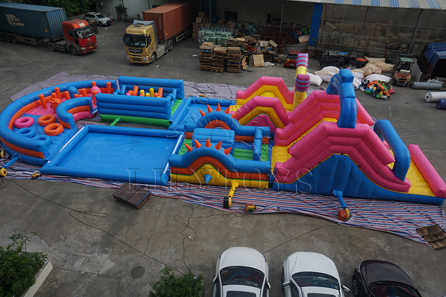 summer inflatable water obstacle with the pool