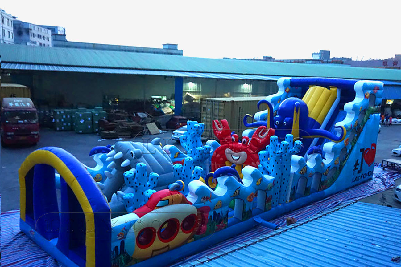 sea world inflatable obstacle course bounce castle for kids