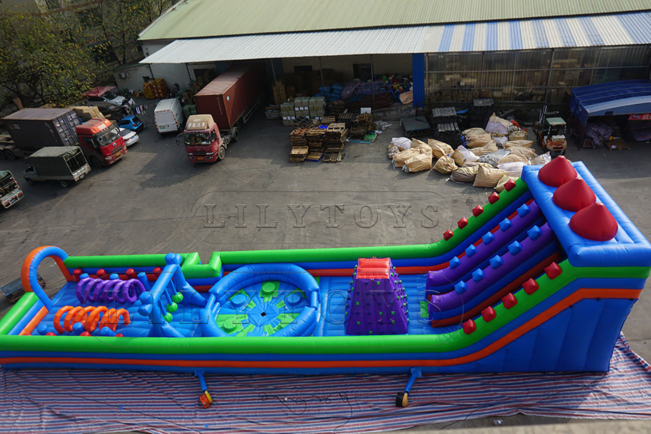 inflatable indoor sport obstacle with meltdown and climbing