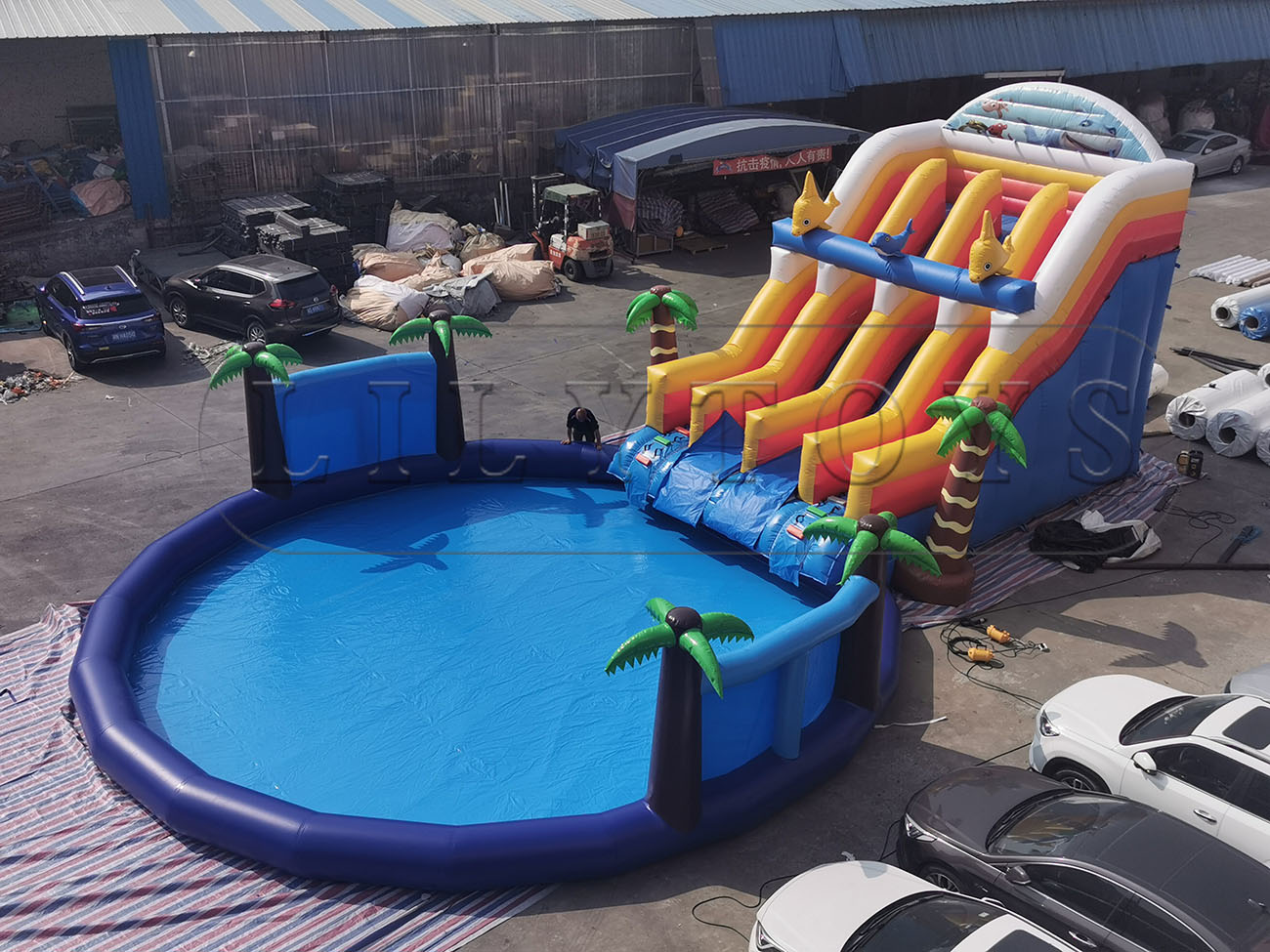 tropical jungle inflatable water park slide with pool
