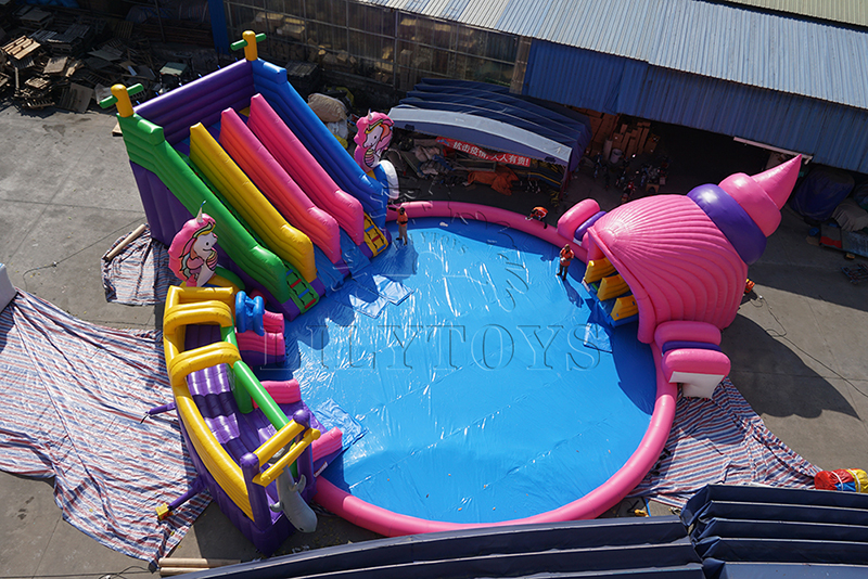 inflatable unicorn water park with pool for kids and adults