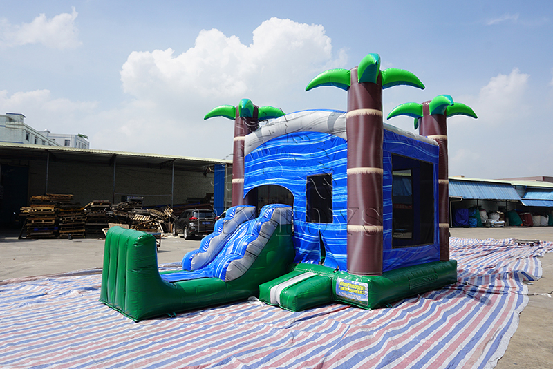 inflatable palm tree bounce castle with slide for USA