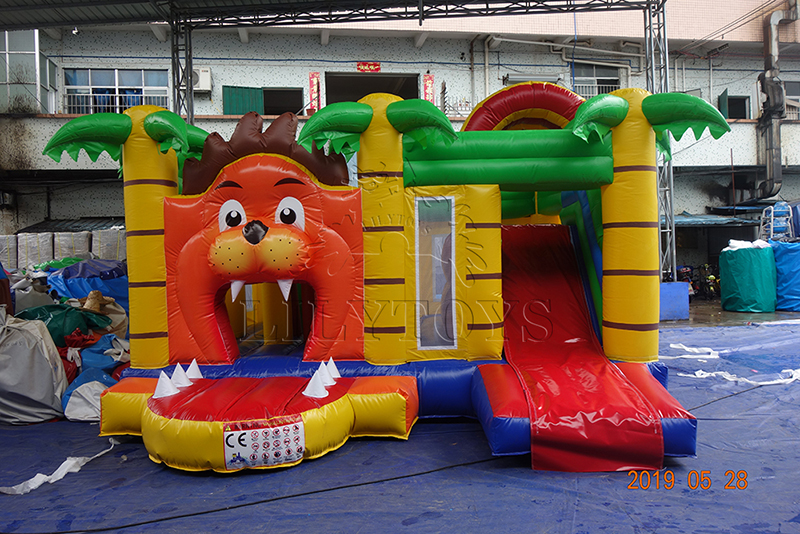 jungle line inflatable bounce with slide
