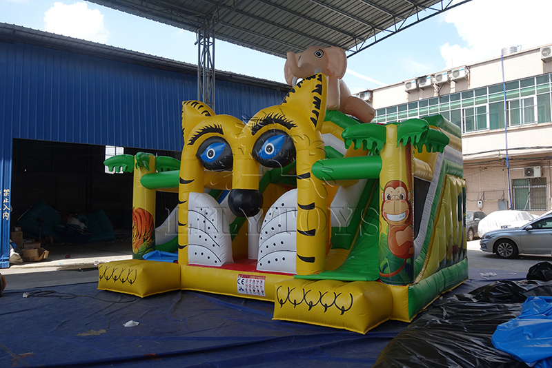 inflatable animal bounce with 2 slides