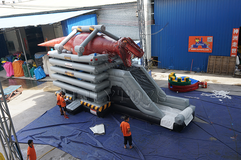 tyrannosaurus rex inflatable bounce with slide