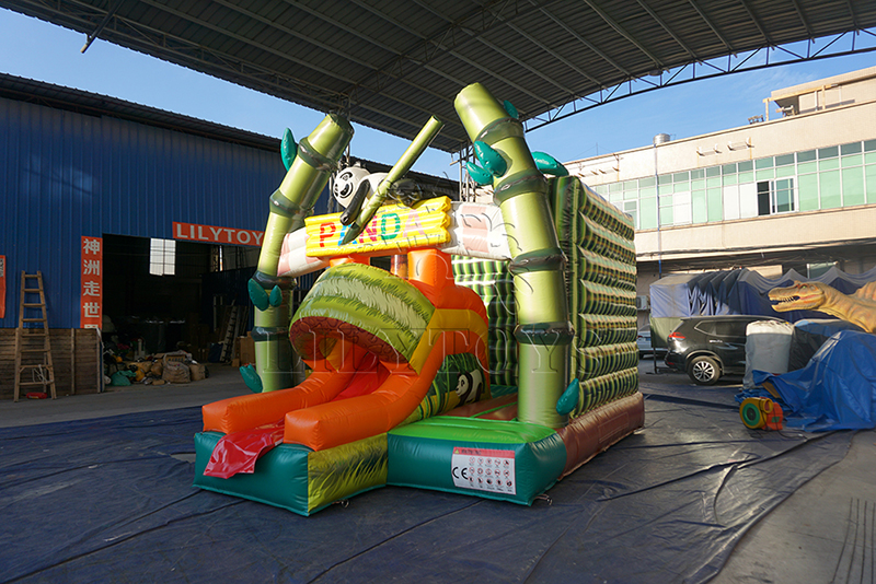 panda inflatable jumping house with slide