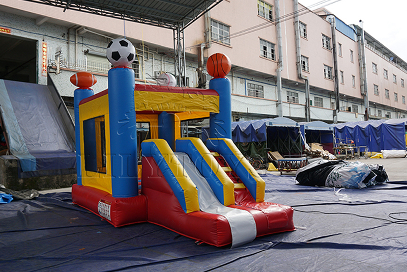 soccor inflatable bounce house with slide