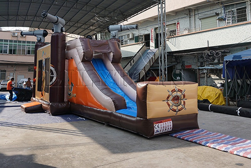 commercial pirate inflatable bouncy house with slide