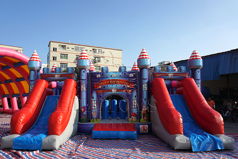 big castle with double slide