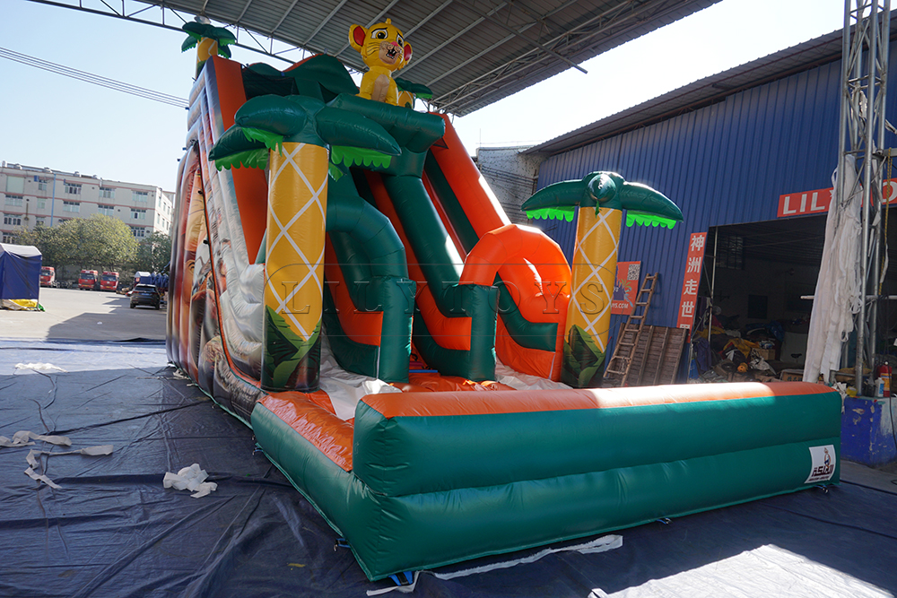 line inflatable water slide with pool