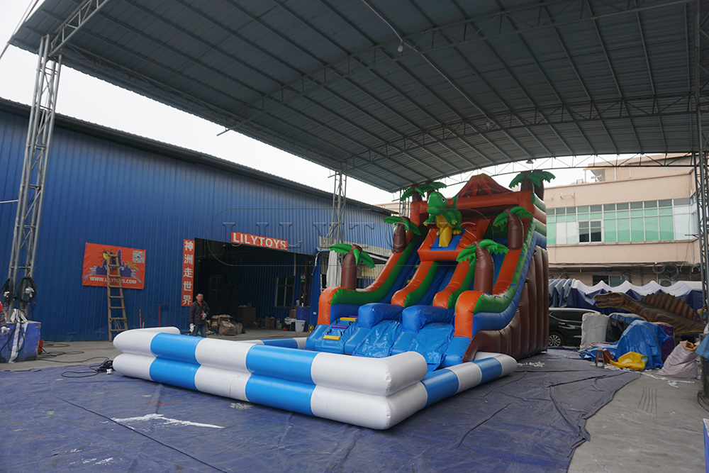 volcano dino inflatable water slide giant