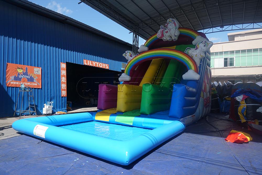 unicorn inflatable water pool slide