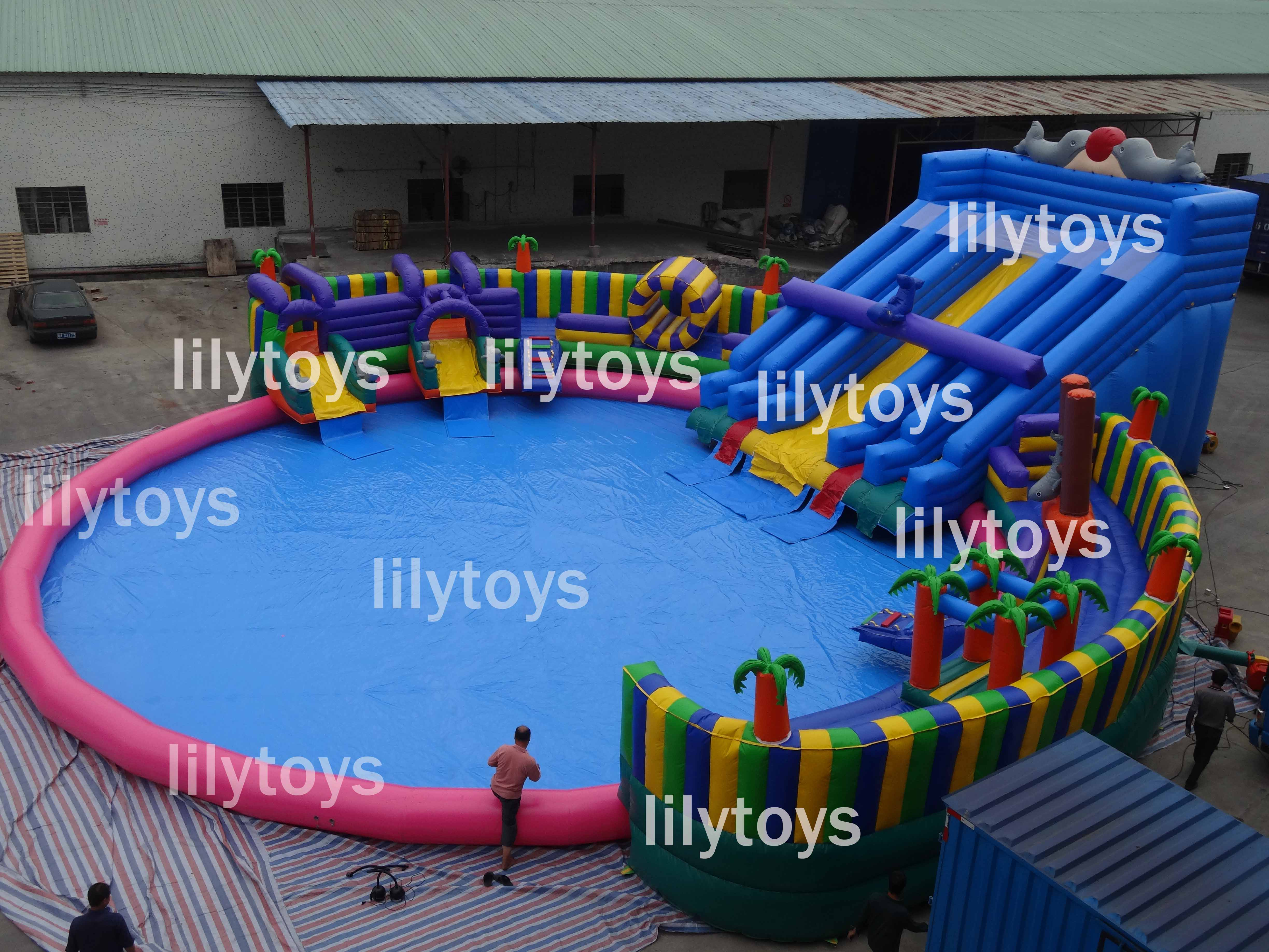 tropical inflatable water park