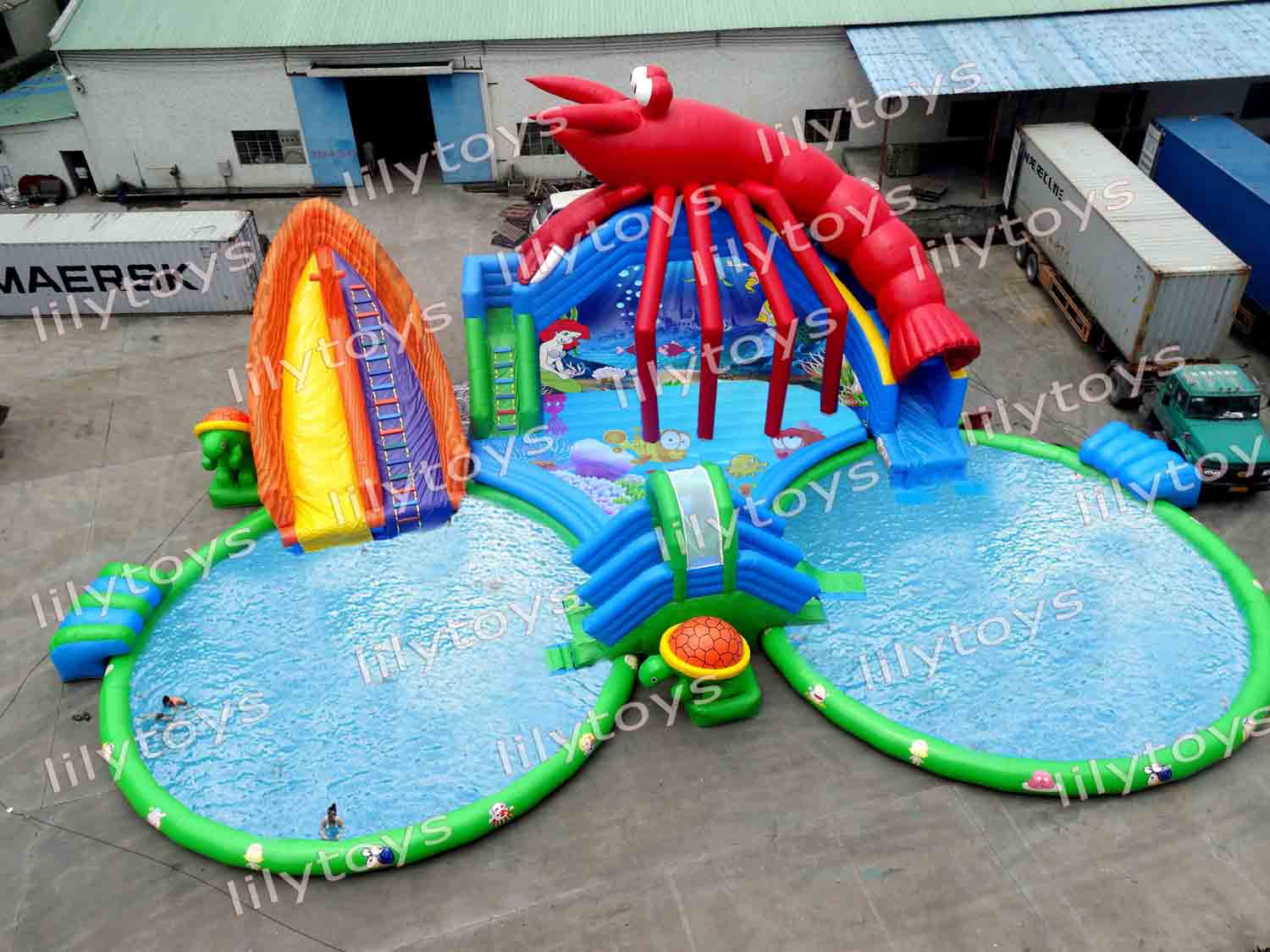 shrimp inflatable water park with 2 pools