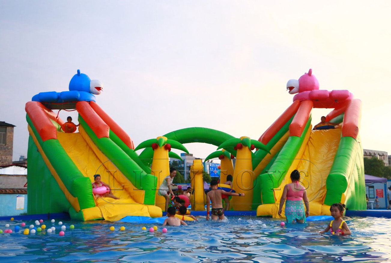 hippo inflatable water park with 2 pools for kids