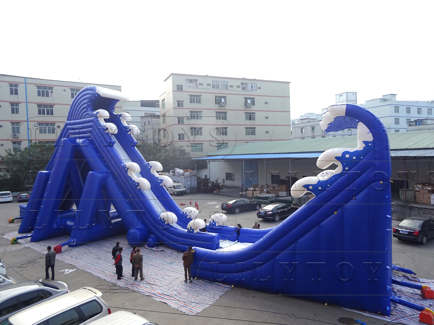 NEW double wave inflatable slide