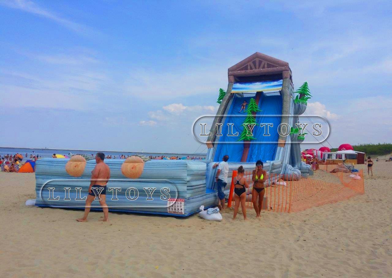 wooden inflatable giant hippo slide for adults