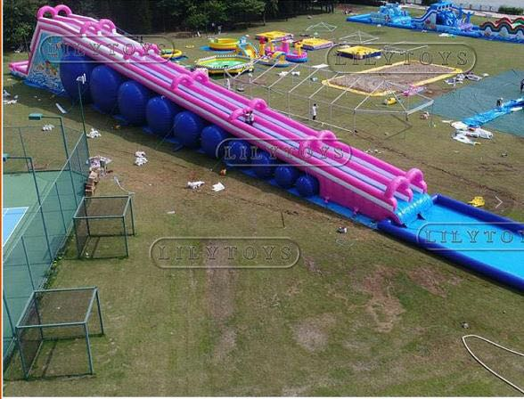 pink inflatable city slide