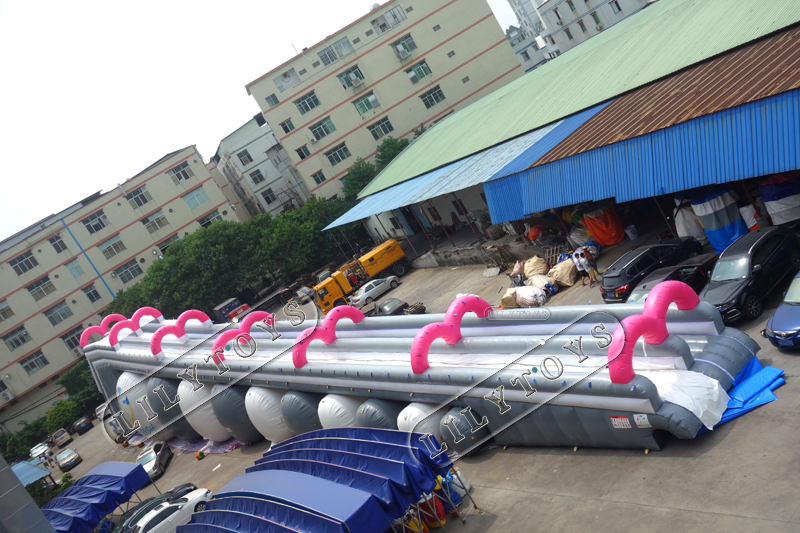 grey color inflatable city slide with big pool