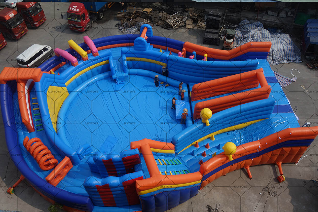 New giant inflatable stages water park with obstacle course