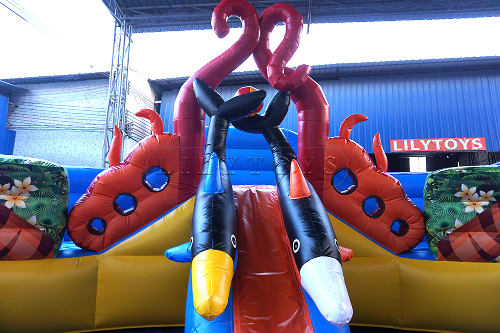 happy dophin big inflatable water park slide with pool