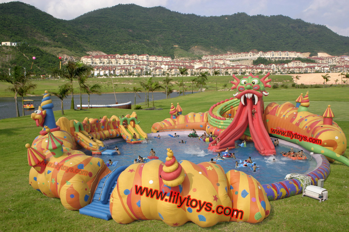 dragon inflatable water park for kids and adults
