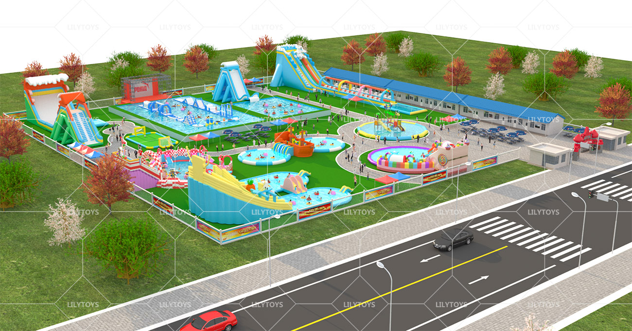 Inflatable ground Water park -80x100