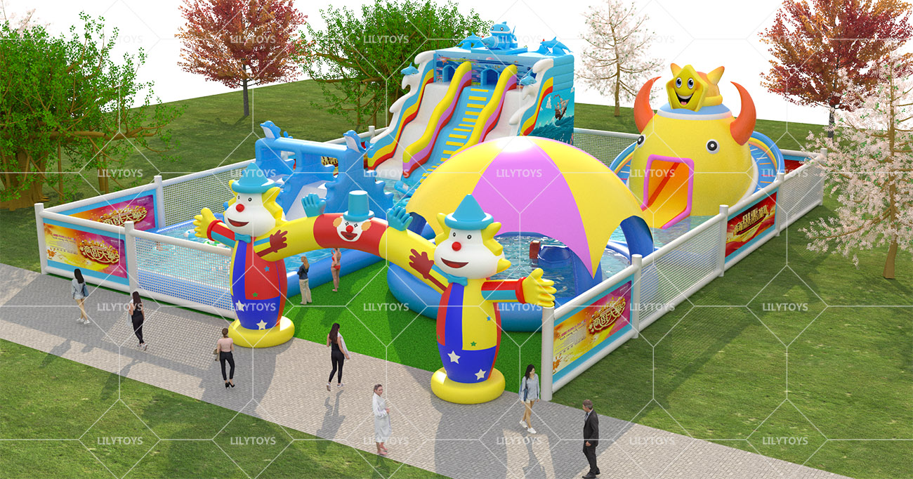 Inflatable ground Water park -25x20