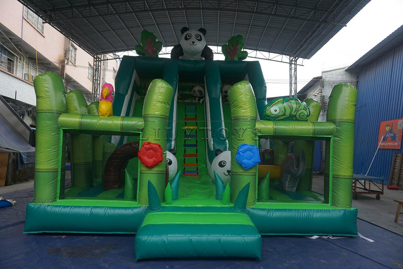 New Design lovely panda inflatable dry slide