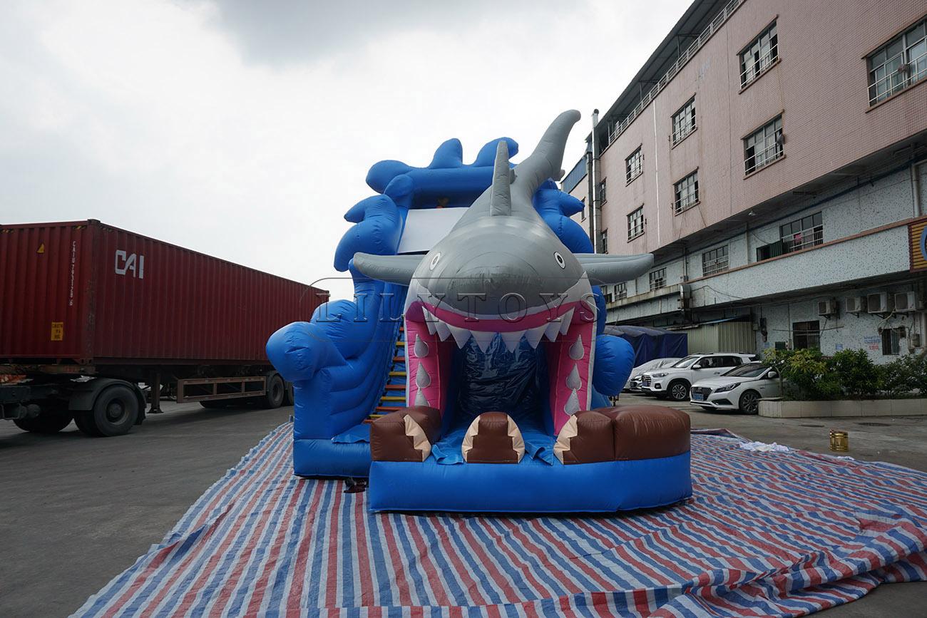Giant Shark Inflatable Dry Slide For kids
