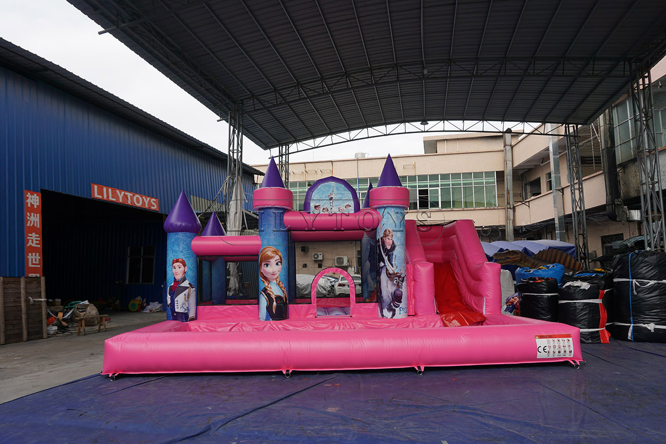 Frozen durable PVC bounce house inflatable water slide with pool