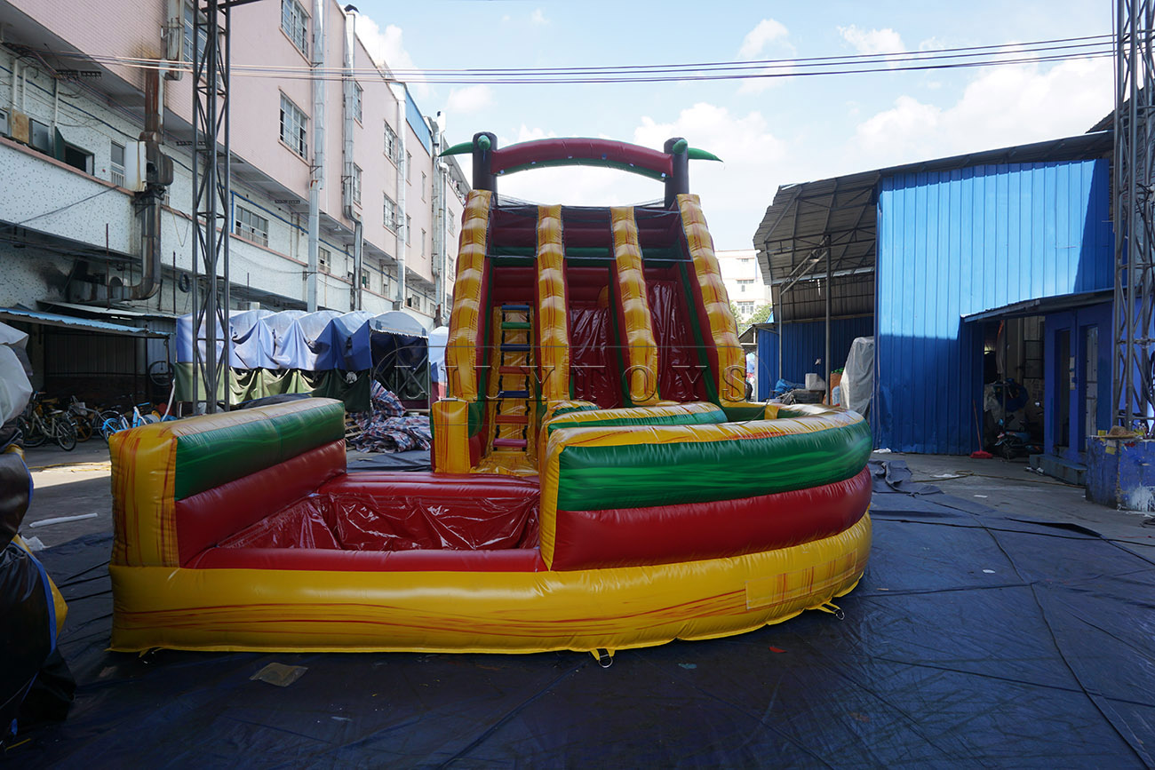 Giant dual lane curvy inflatable water slide