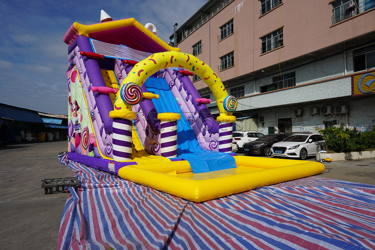 New design candy inflatable water slide with pool