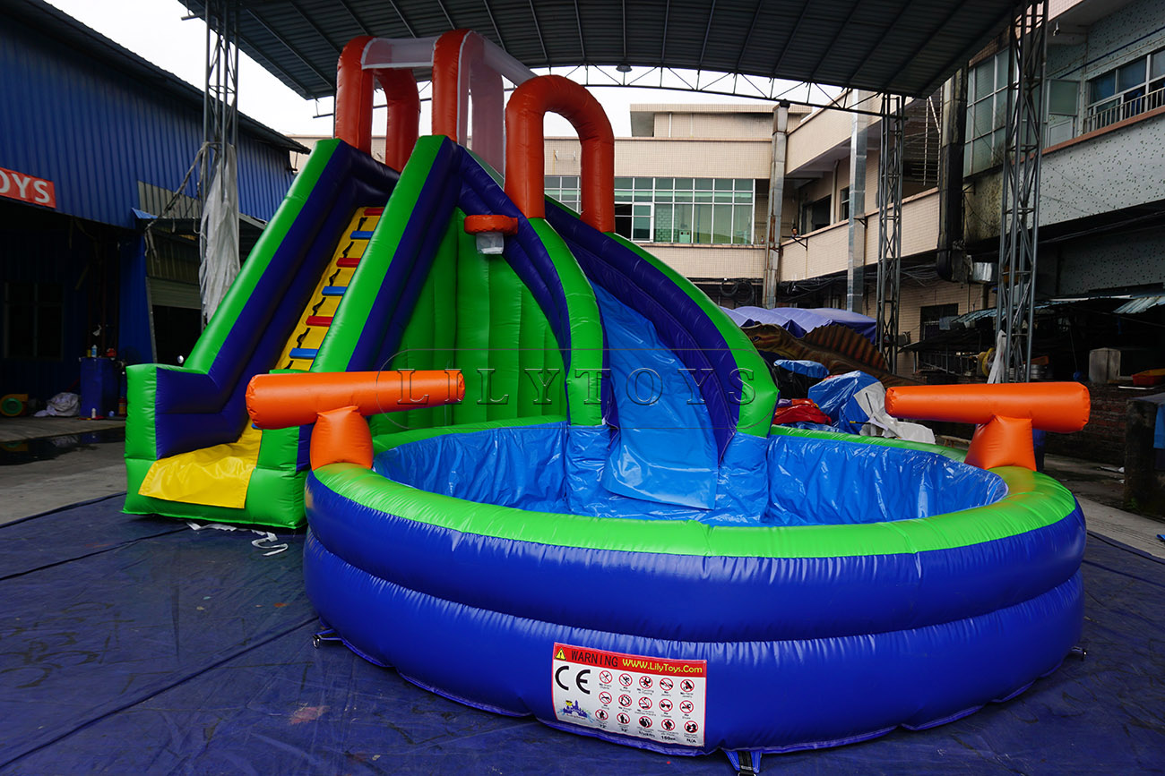 Curve inflatable swimming pool kids water slide