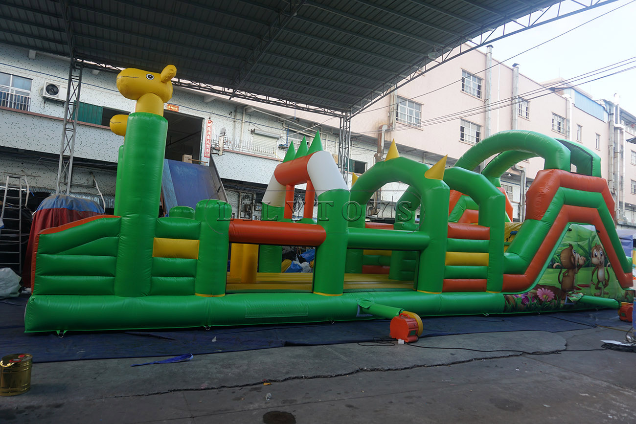 Race inflatable double obstacle course