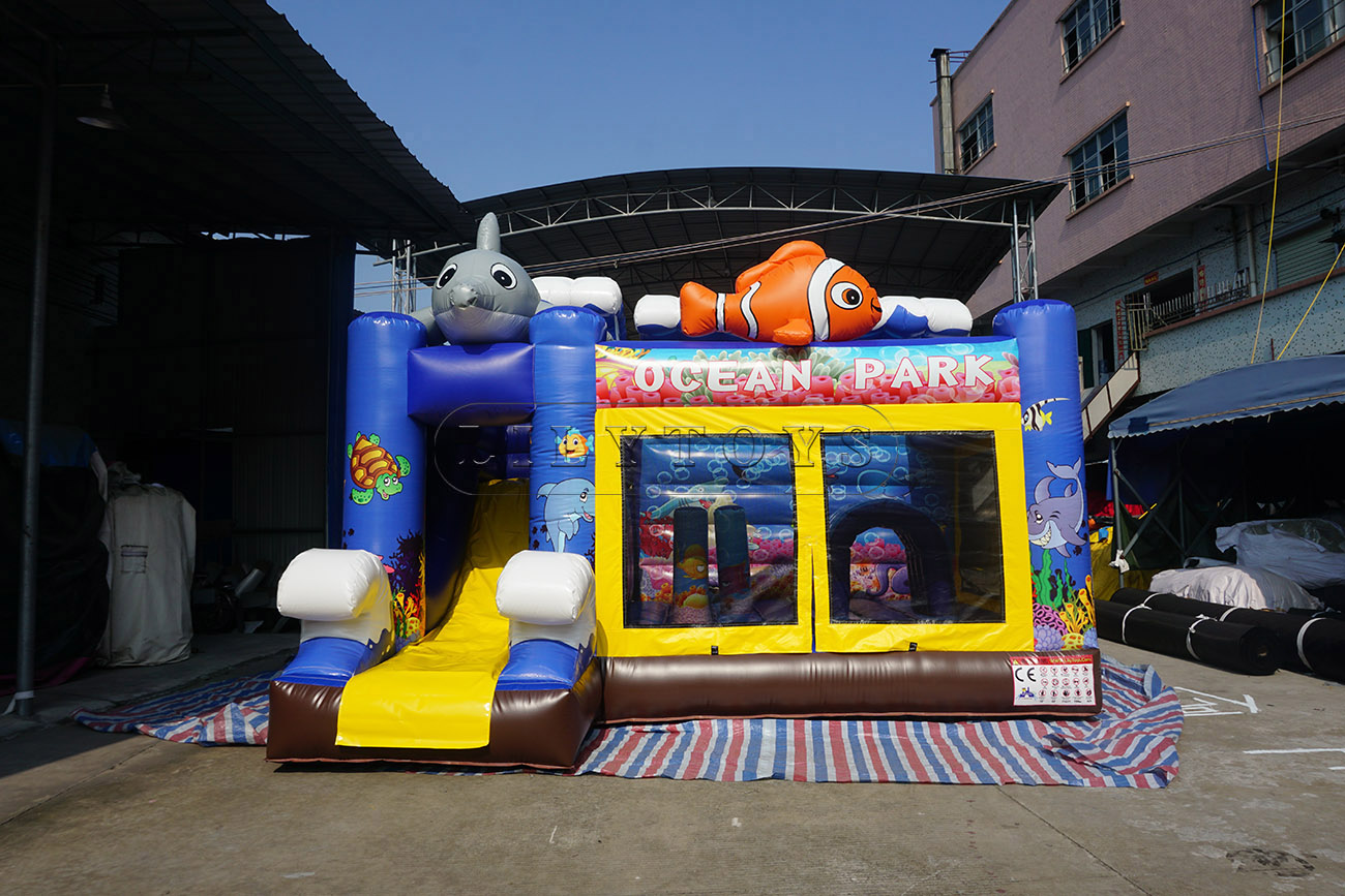ocean theme inflatable trampoline bouncer with slide
