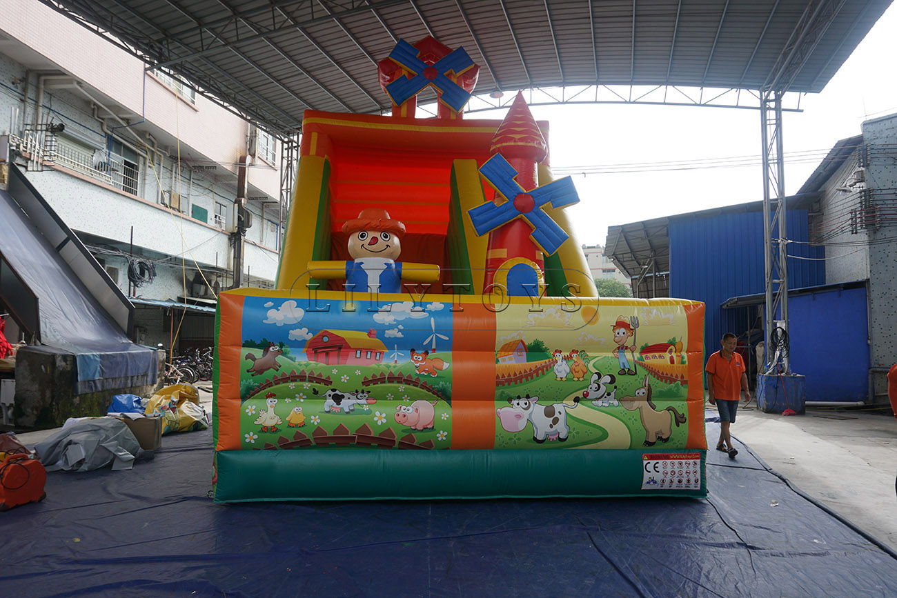 Farm Town Inflatable Dry Slide