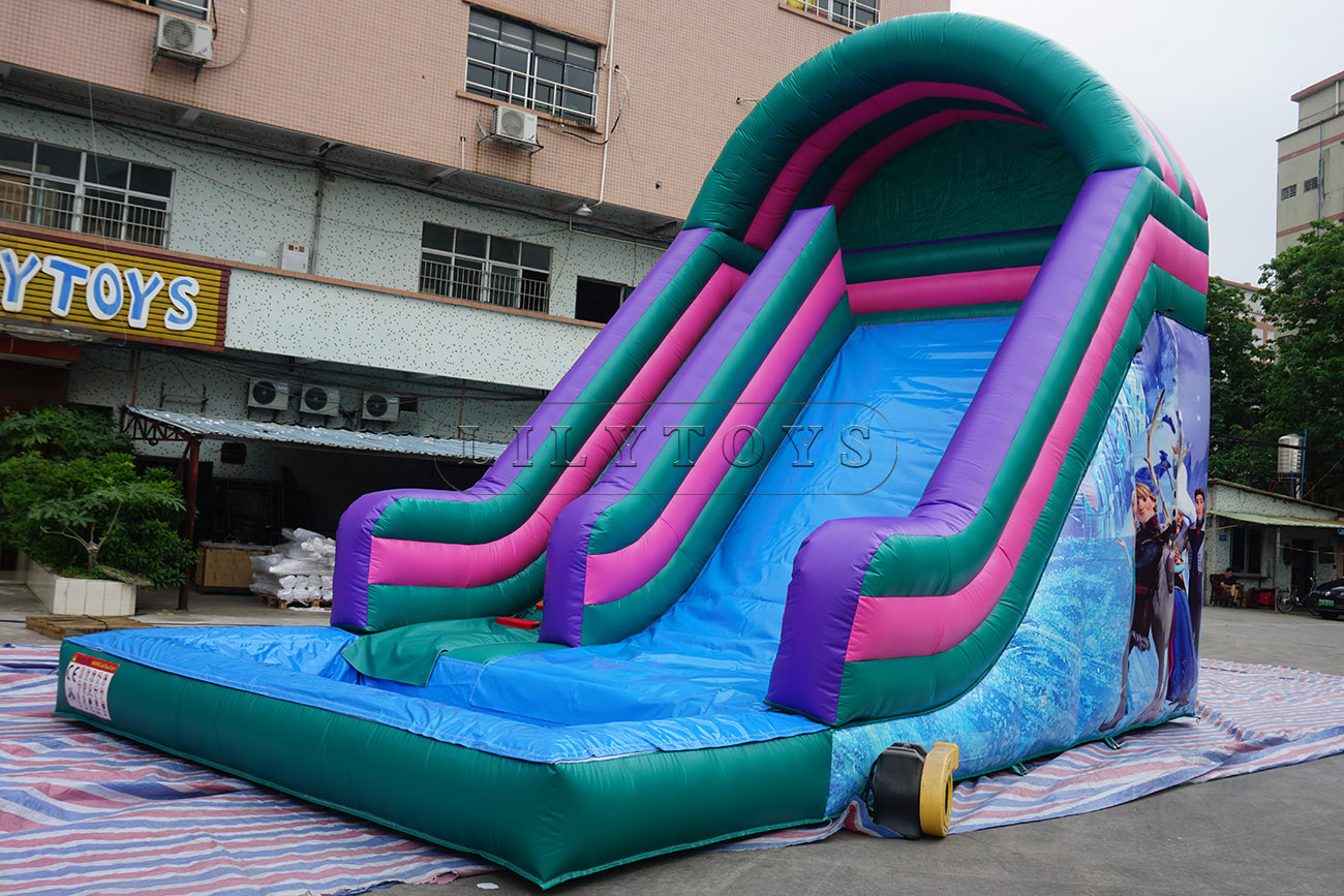 Frozen inflatable water slide  with pool