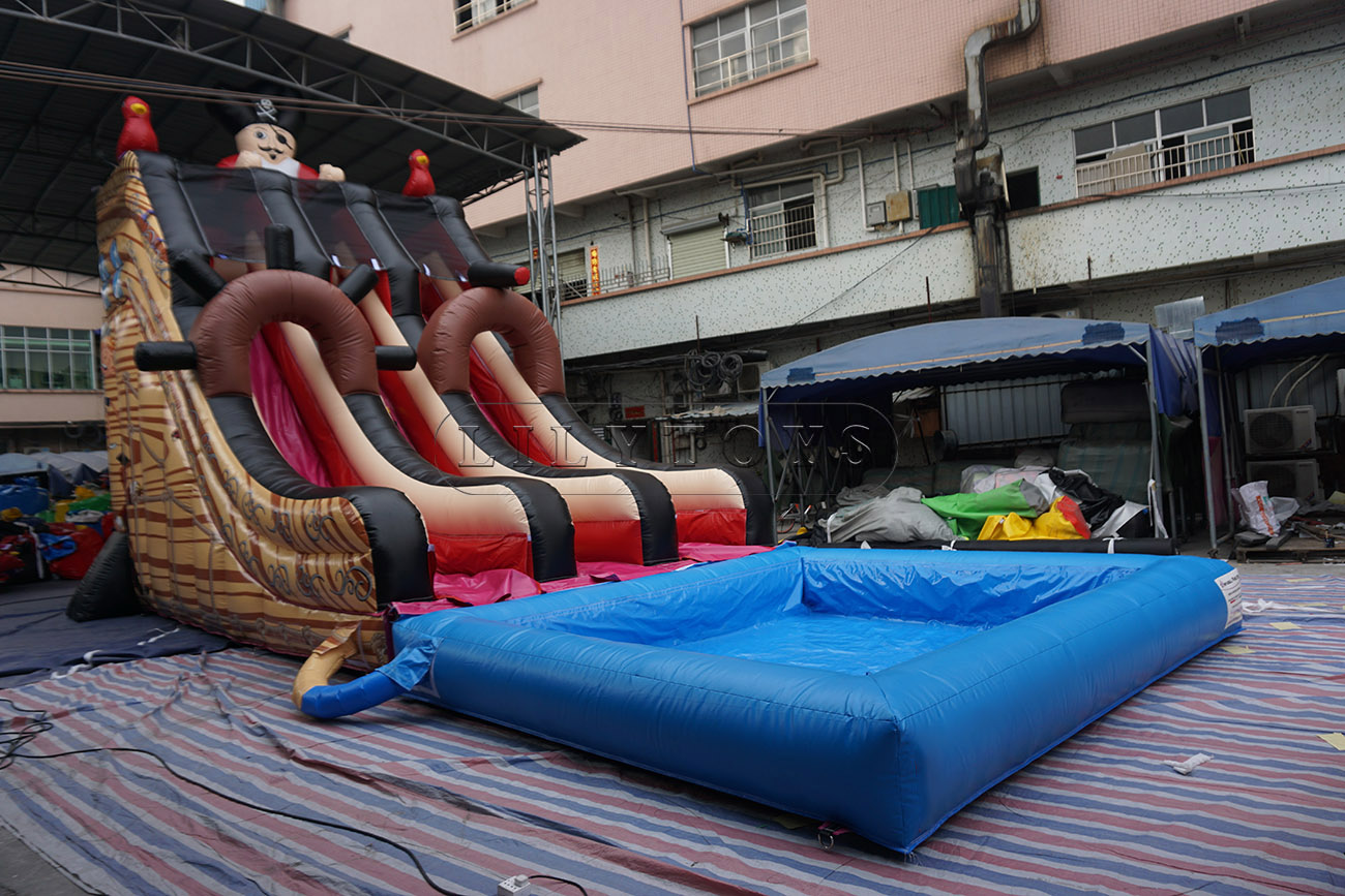 pirate ship inflatable water slide