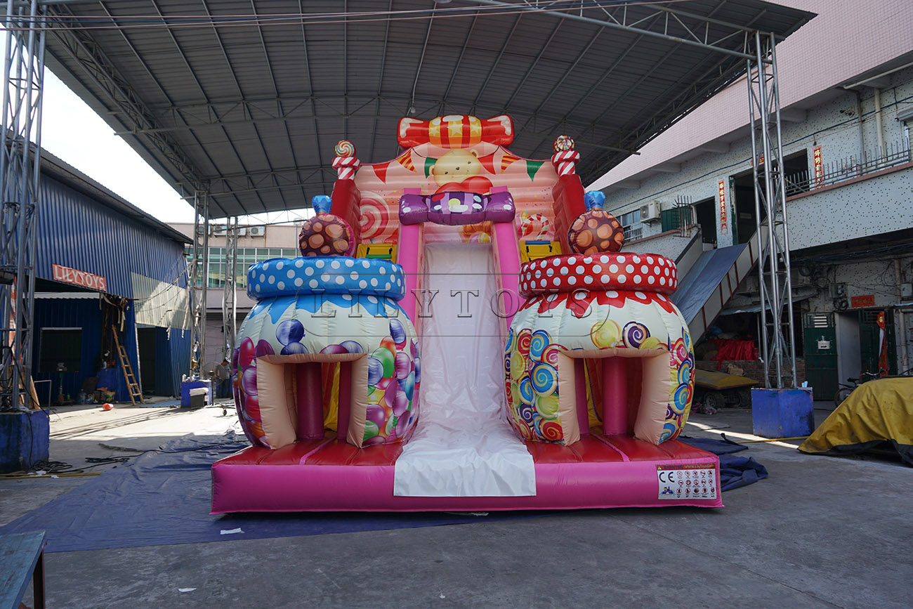 Colorful popular inflatable candy bouncy slide for sale