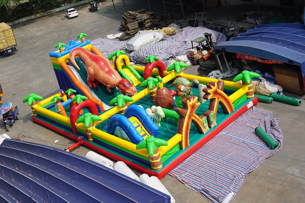 jungle dinosaur inflatable bounce obstacle theme park