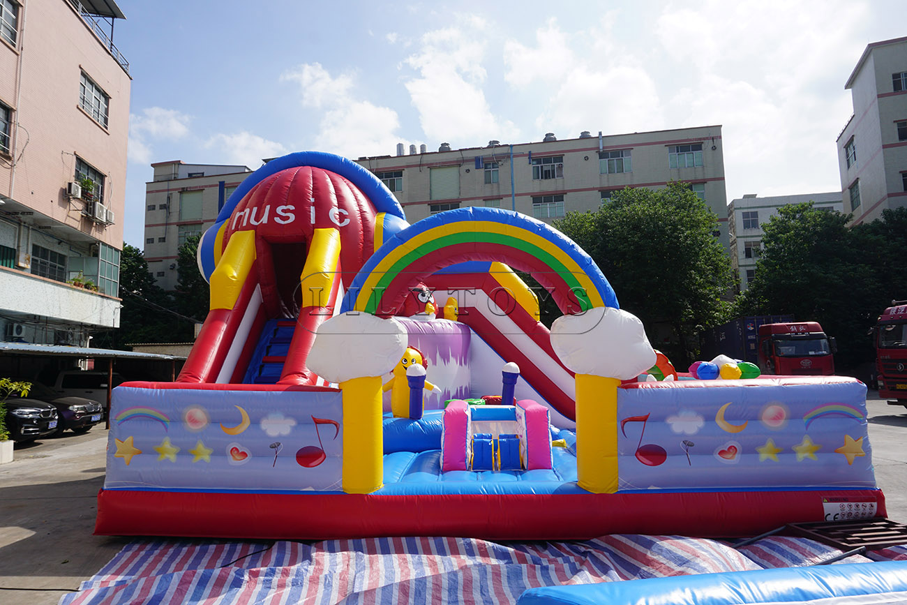 Music theme inflatable fun city bouncy trampoline