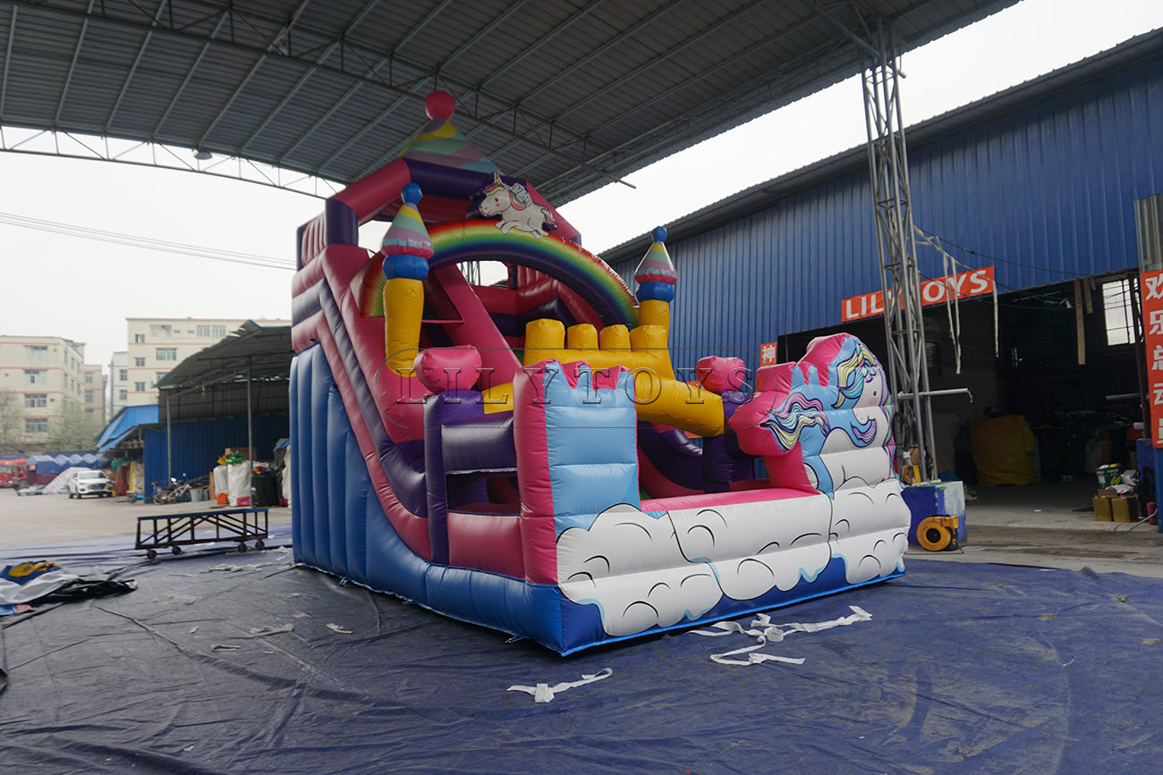 Pink unicorn inflatable dry slide for kids