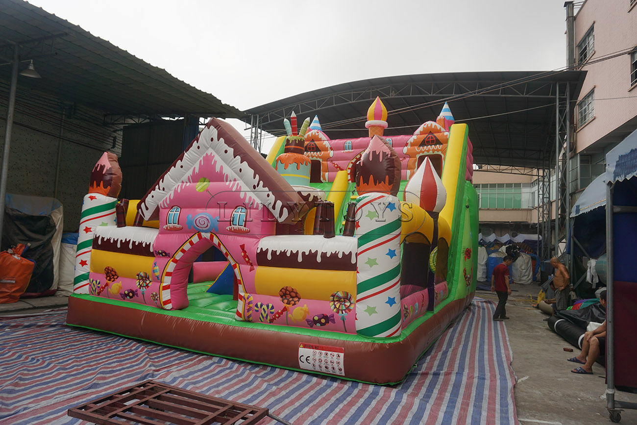 cake and candy theme inflatable bouncy castle for birthday