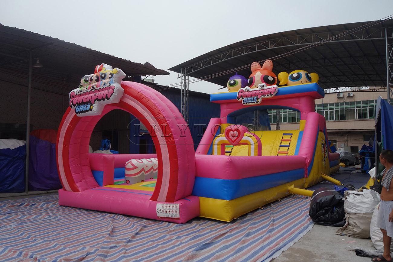 powerpuff girls big inflatable playground fun city dry slide