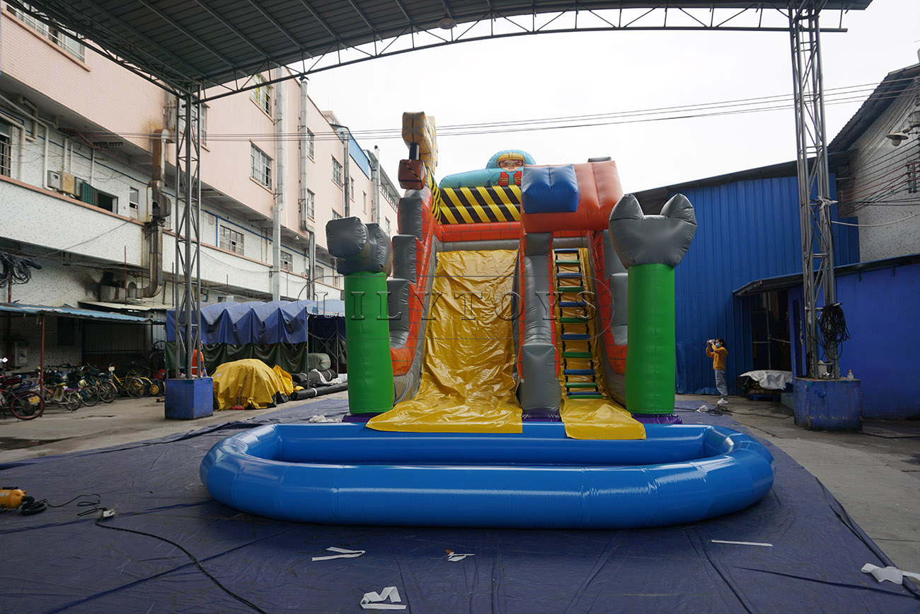 Inflatable water slide with airtight pool