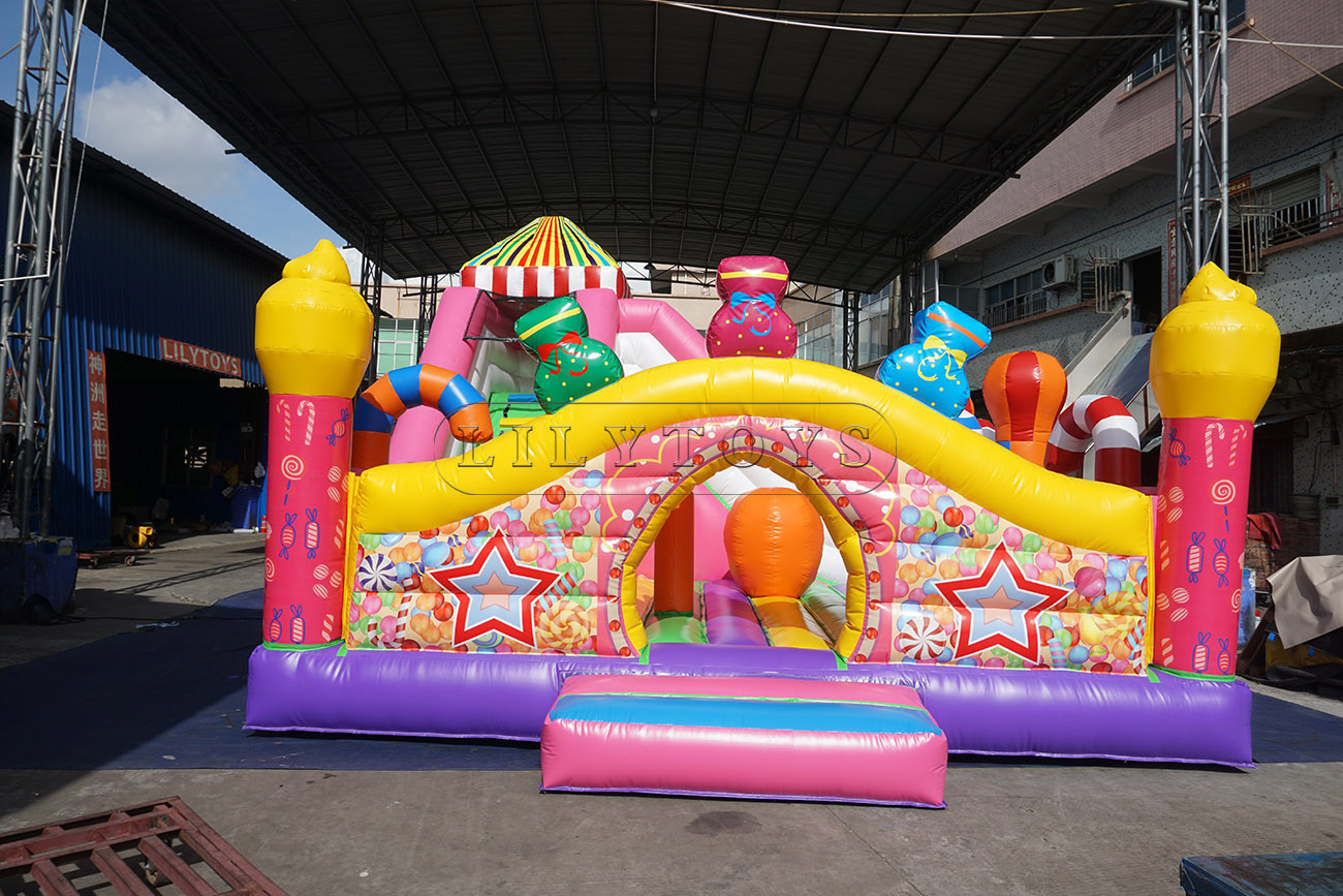 popular candy theme inflatable castle combo inflatables bouncers combo for sale