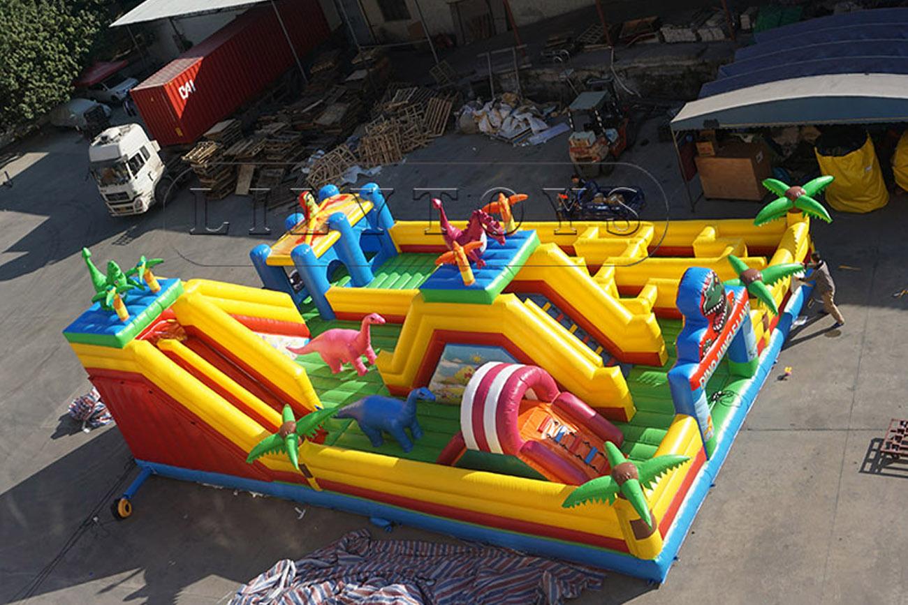 Dinosaur jungle theme inflatable bouncy castle for kids