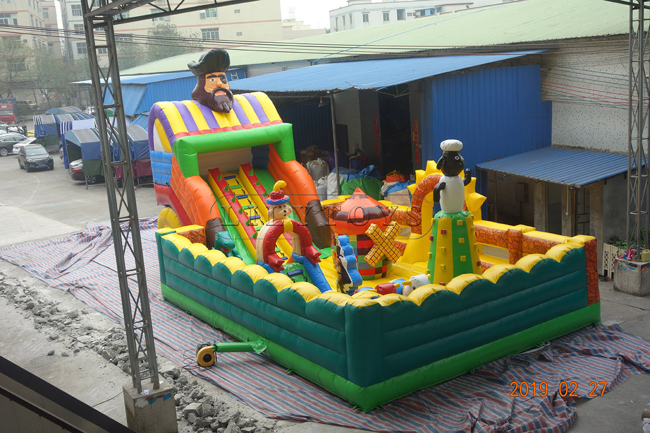 Pirate giant commercial grade bounce mat inflatable slide